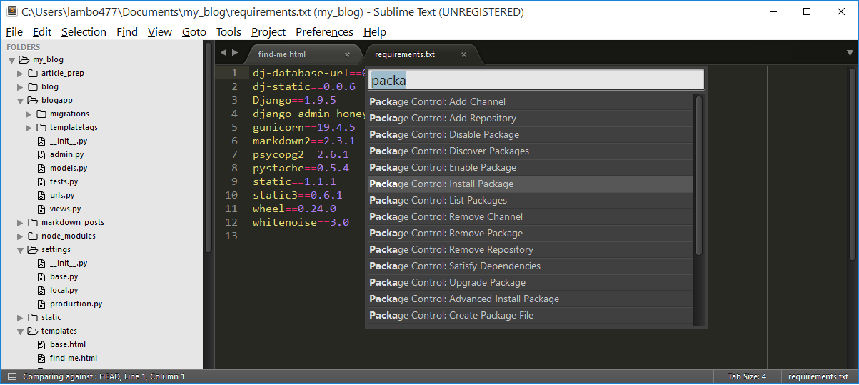 package installer sublime text 3